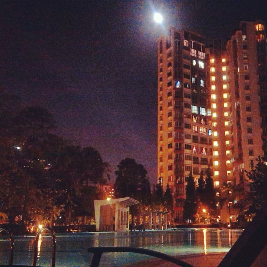 And this is night view of swimming pool.